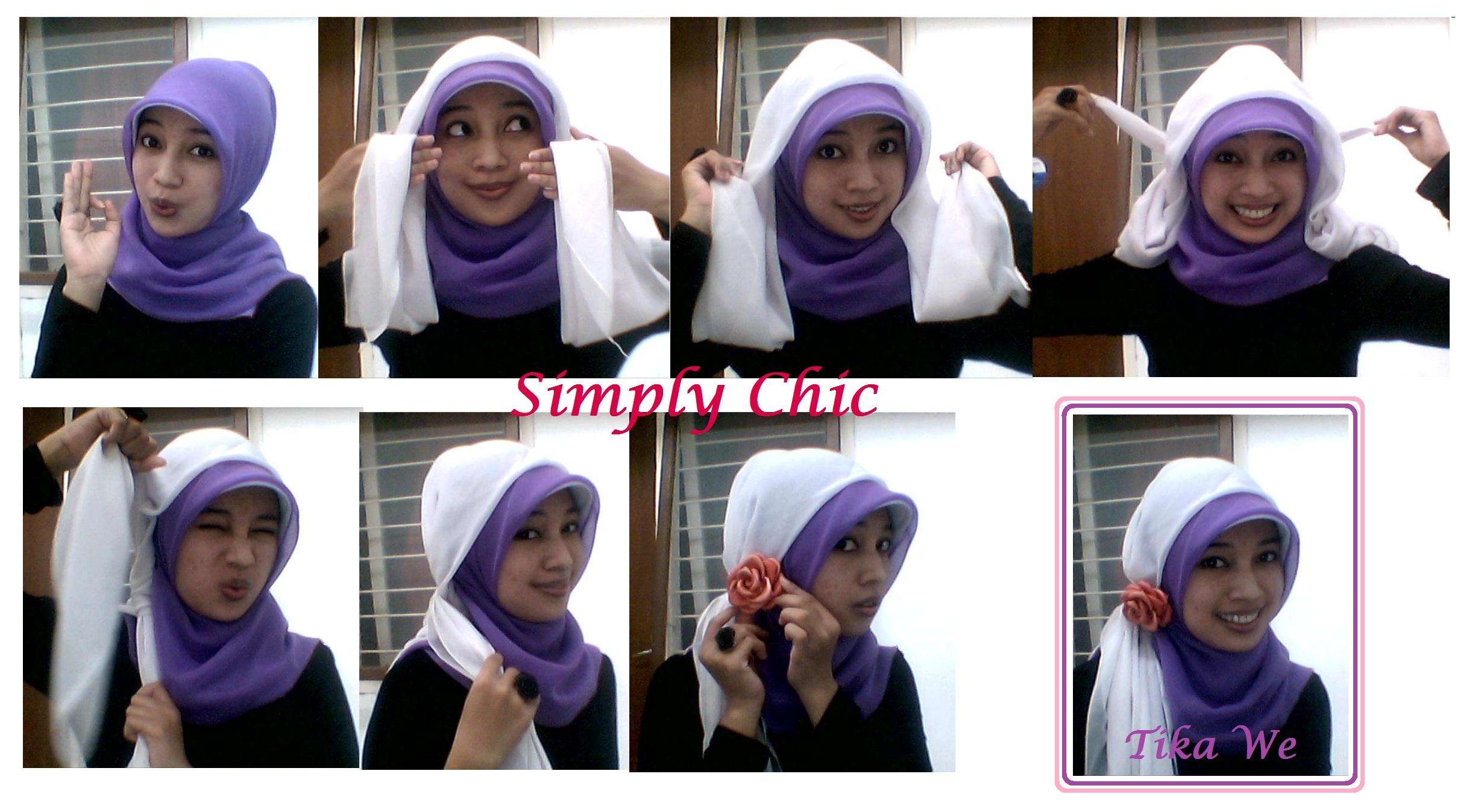 gambar tutorial hijab topi pramugari | tutorial hijab