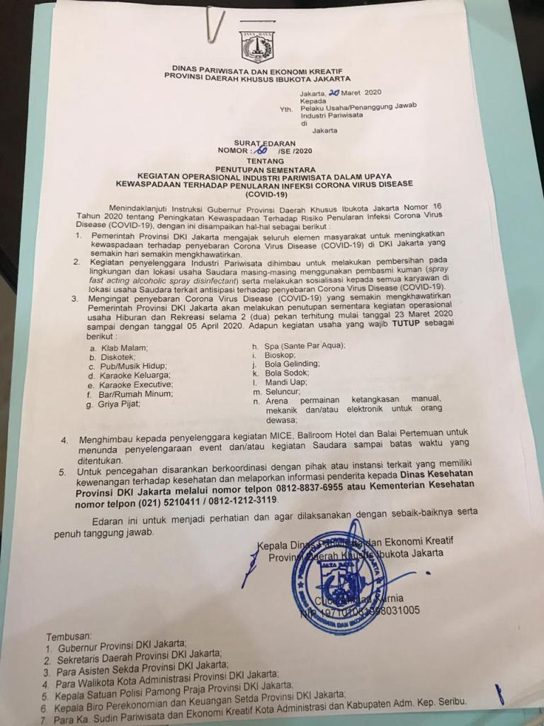 Surat Edaran Pemprov DKI 60/SE/2020